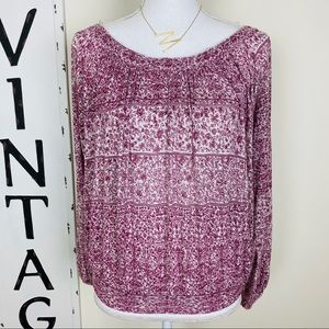 Free people floral cotton long sleeve peasant top